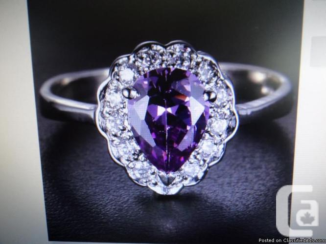 100% Natural Purple Amethyst 1.75 ct with White Topaz