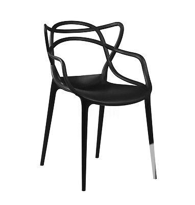 $139 Starck Style Masters Dining Chair | Black | Modern