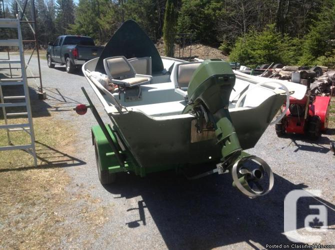 14 foot aluminum boat,9 9 hp johnson 2 stroke outboard & trailer for sale  in Baxters Corner, New Brunswick for sale