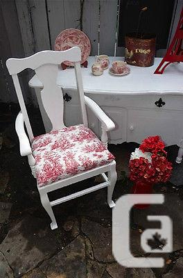 $175 Oak Boudoir chair in Shabby Chic with red and