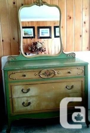 1930's ANTIQUE HAND- PAINTED DRESSER WITH MIRROR - $200