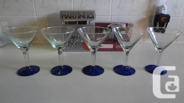 2 Bartender Martini Sets w/5 Martini Glasses/All Brand