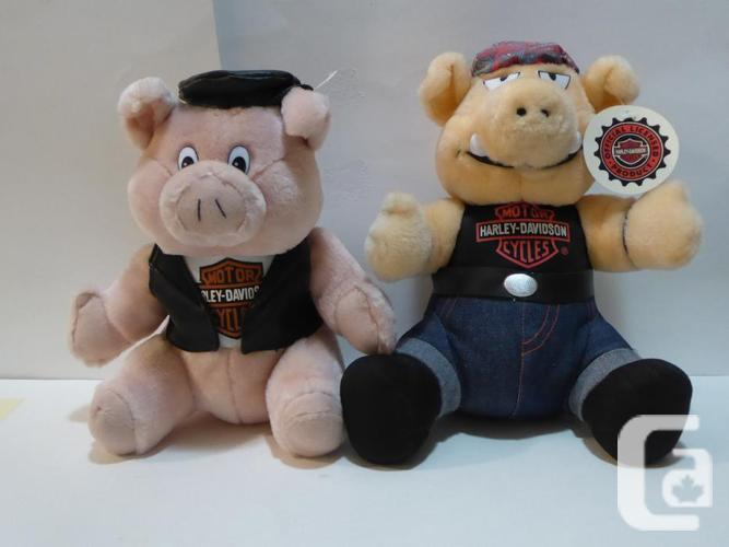 "2 HARLEY DAVIDSON ""HOG"" STUFFED ANIMALS WITH"