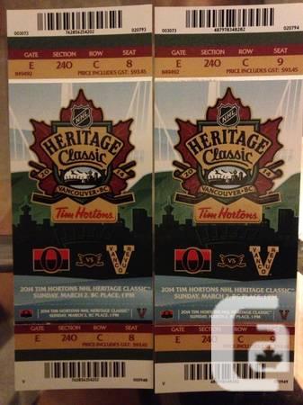 $200! Heritage Classic Vancouver Canucks vs Ottawa