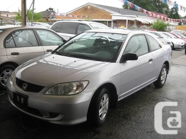 2004 honda civic 2 door coupe 5 speed   for sale in vancouver british columbia classifieds