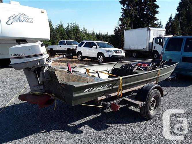 2014 Alumacraft flat boat, Trailer and Johnson Jet Drive for