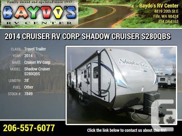 2014 Cruiser RV Corp Shadow Cruiser S280QBS Travel