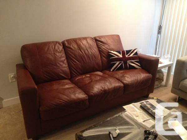 ** 3 Seat Brown Leather Sofa/Couch ** - $200