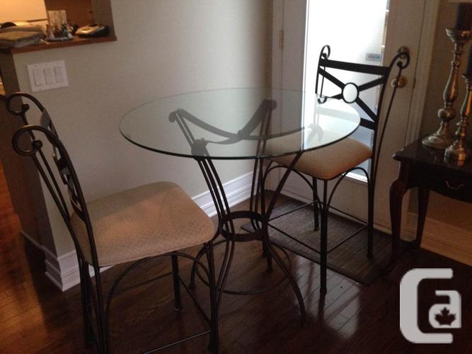 36-inch amp & Round Glass Table; 2 Seats - Bistro-Style