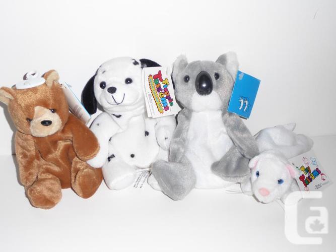 4 BEAN FILLED ANIMALS: KITTEN, DALMATIAN, KOALA & TEDDY