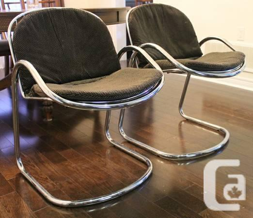 4 ITALIAN CHROME CHAIRS WITH CUSHIONS - VINTAGE DINING & 4 ITALIAN CHROME CHAIRS WITH CUSHIONS - VINTAGE DINING SET - for ...
