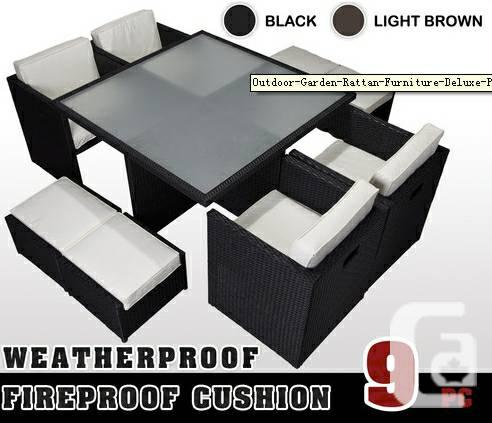 9 PCS Outdoor Garden Rattan Furniture Deluxe Patio Cube