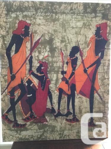 "African ""Masai"" Batik painting, stretcher"