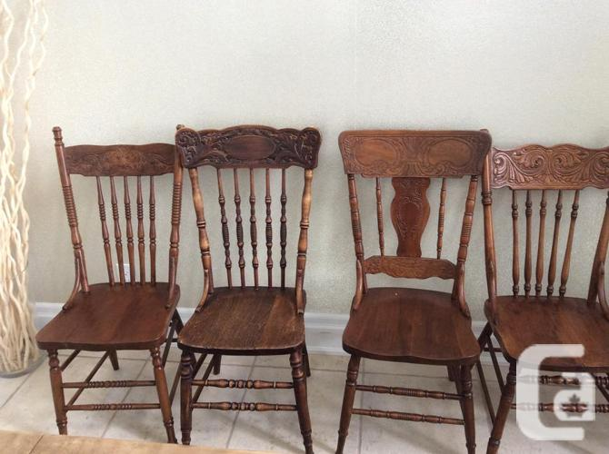 Antique harvest table and 9 press back chairs - Antique Harvest Table And 9 Press  Back - Antique Pressback Chairs Antique Furniture