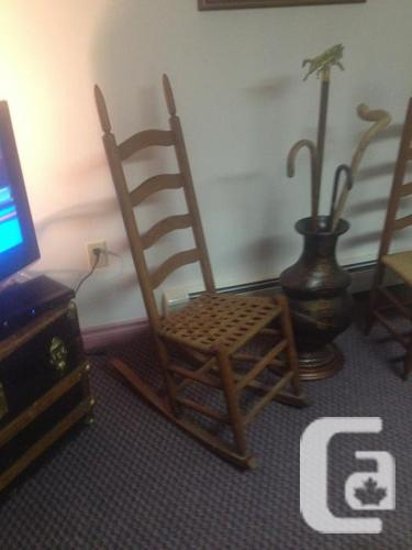 Antique Ladder Back Cain Chairs .    Ch town