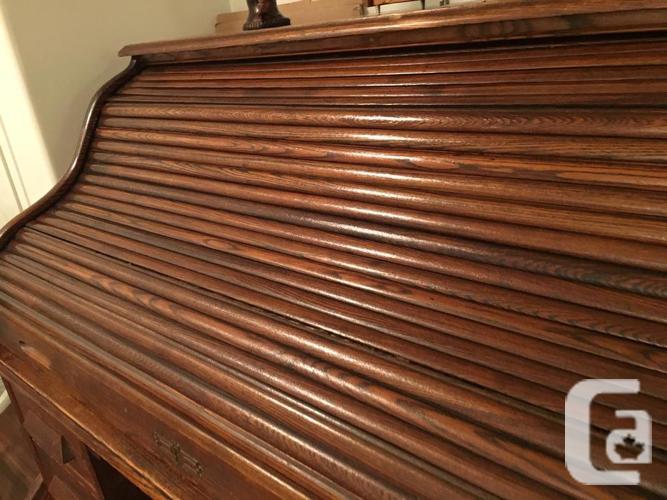Antique Oak Roll Top Double Pedestal Desk