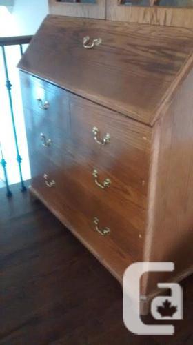 Antique Oak Secretary Desk and Hutch