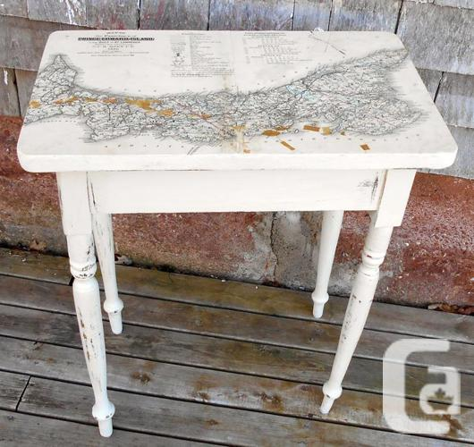 Antique PEI Pine Table Map Decoupage @ Gallery 18