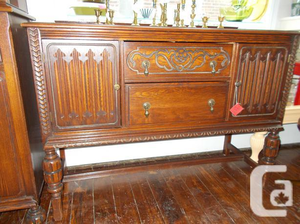 Antique solid oak sideboard buffet for sale in for 100 year old oak table