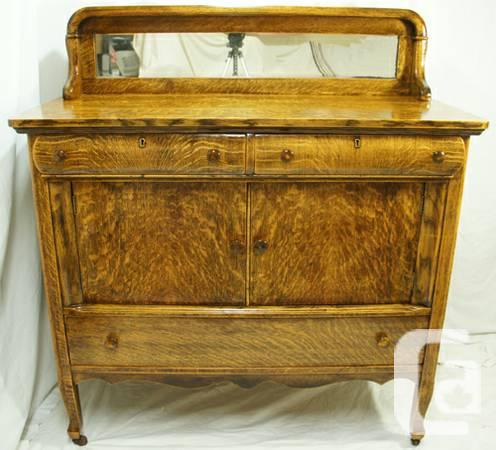 Antique tiger oak sideboard buffet hutch with mirror for for L furniture more kelowna bc