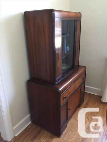 Art Deco vintage wood buffet and hutch
