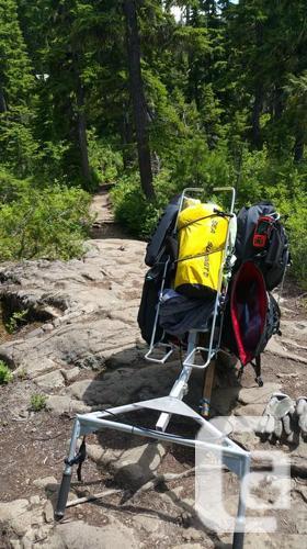 Backpacking wheel with 4 Axiom waterproof panniers