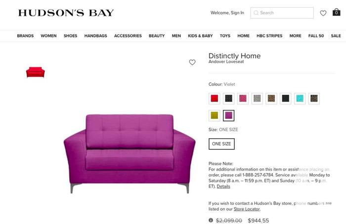 Beautiful Purple Andover couch from the Hudson Bay