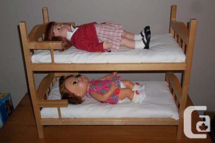 "Beautiful solid wood bunk bed for 18"" doll"