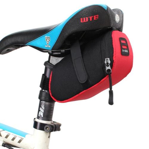 Bicycle Bike Seat Saddle Tail Pouch Bag - Black Red