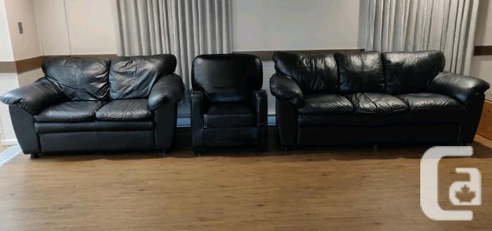Black Leather Living Room Set for Sale