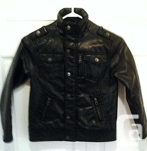 Boys Black Leather Jacket, Size 6-7