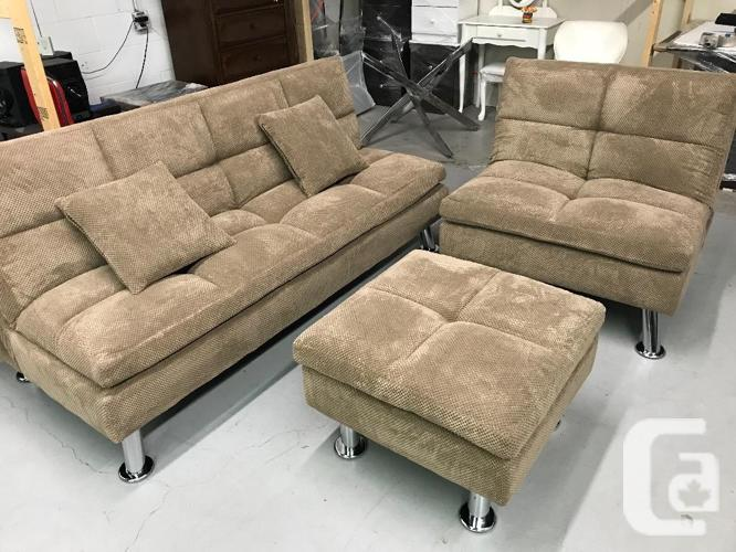 Brand New 3pc Brown Fabric Sofa Bed Set On Sale,