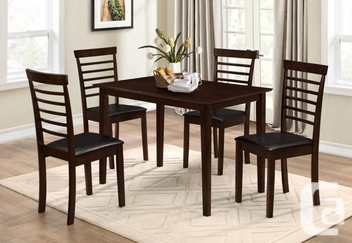 BRAND NEW 5PC DINNING SET SOLID WOOD TABLE 4 DIFERENT