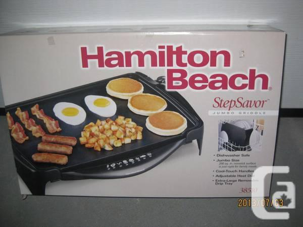 BRAND NEW HAMILTON BEACH STEPSAVOR JUMBO GRIDDLE - $85
