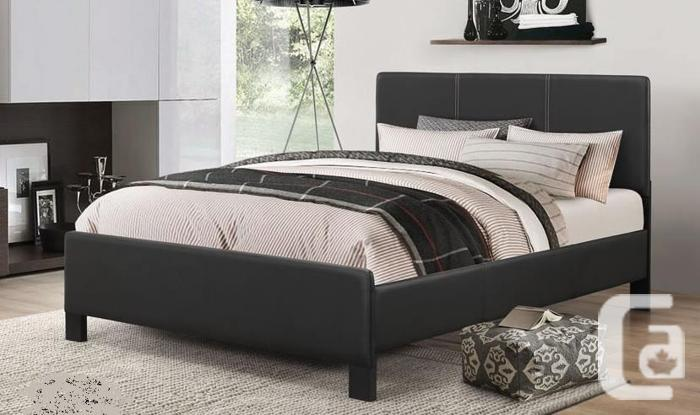 BRAND NEW PU-LEATHER BED FRAME + SPRING MATTRESS & FREE