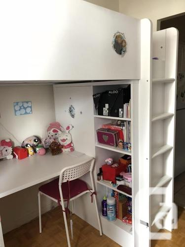 BUNK BED WITH DESK, OPEN SHELVES AND WARDROBE