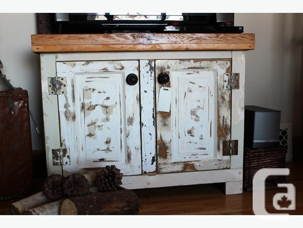 Cabinet made from old solid wood doors butcher block top - Cabinet made from old doors ...