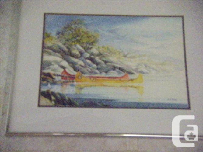 Canoes.  Watercolour. 18 x 14.5. Matted. Framed.