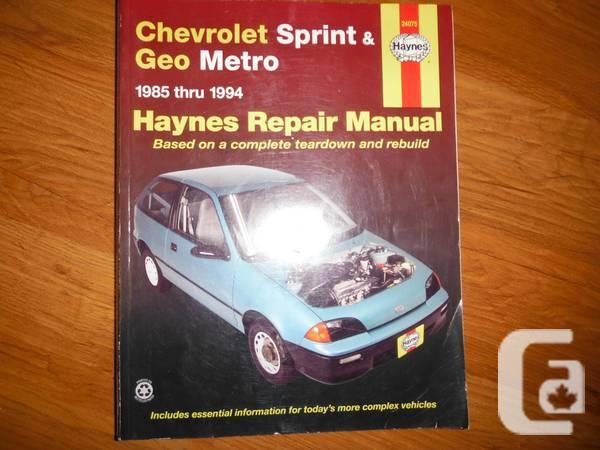 Chevrolet Sprint  Geo Metro 1985-1994 Shop Manual