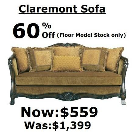 Claremont Sofa and Loveseat 60% off floor models at