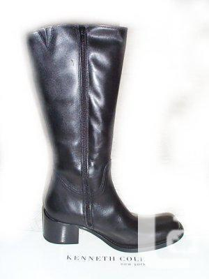 COLE Knee-High Black Leather Shoes - 6.5/7