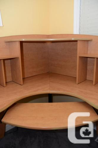 Corner Office Desk W Hutch And Keyboard Tray For Sale In