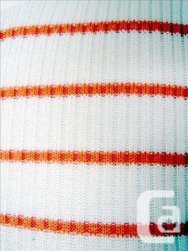 Coton Belt - Orange / White Strip Long Sleeve Knit Top