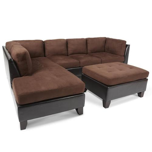 Dark Brown Sectional Sofa /Couch and Ottoman (Abbyson