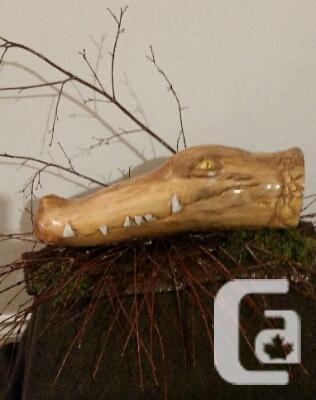 Driftwood Alligator Head Carving, Surrey