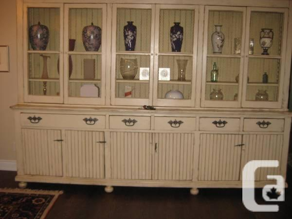 Exquisite big Antique Beige armoire with tons of