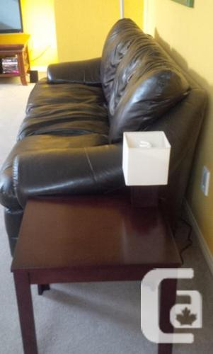 Faux Brown Leather Couch Sofa. Great Condition! Non