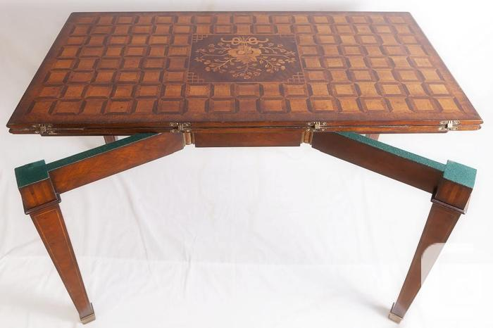 French Mahogany Convertible Table /w Marquetry inlays +