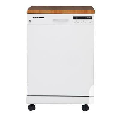 GE White Portable Dishwasher with Stainless Steel Tub -