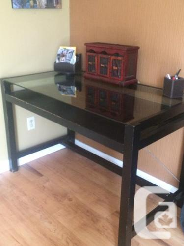 Glass and wood desk - great shape!